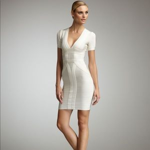 Herve Leger Short-Sleeve VNeck Bandage Dress cream